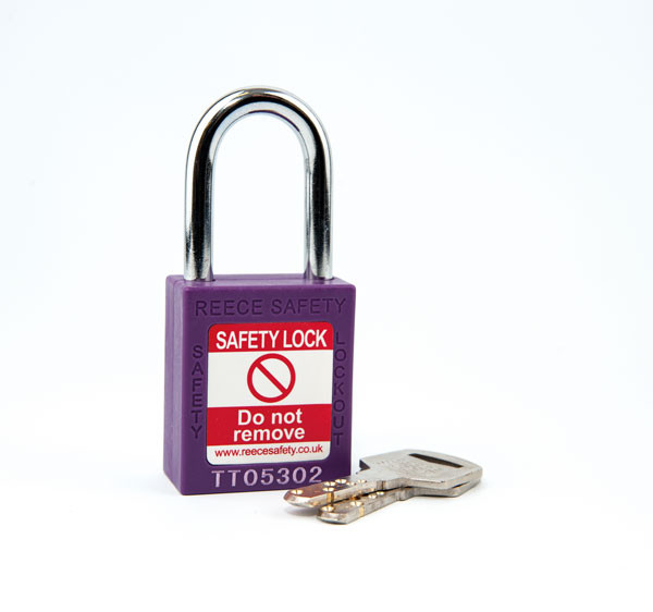 PURPLE Steel Shackle safety padlock keyed differently