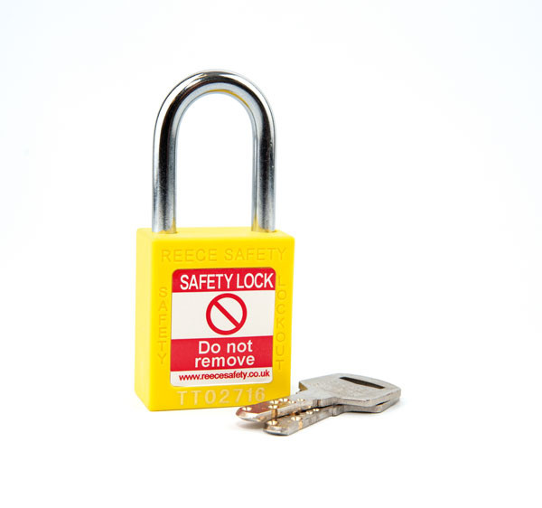 YELLOW Steel Shackle safety padlock keyed differently