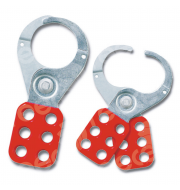 MLH6 Lockout Hasp steel, red plastic coated, scissor action 38mm dia jaws