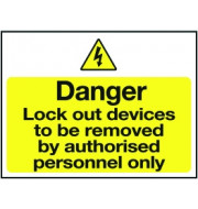 Lockout Sign 450x600mm Lockout devices to be
