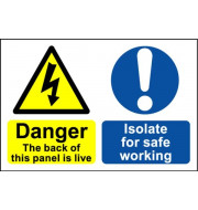 Danger the Back of this Panel Is Live ヨ Safety Sign