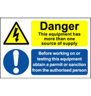 Danger One or More Source - Safety Sign