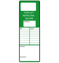 Fork Lift Inspection Record Safety message/maintenance tag