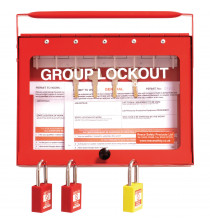 GL1 Steel Wall mounted or Portable Group Lockout Box - 8 hook. Colour Red