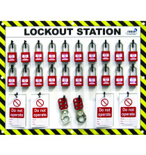 20 Lock Lockout Station With Padlocks, Tags & Hasps
