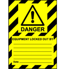 Size A6 Danger Equipment locked out by