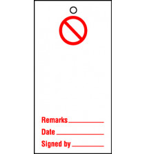 Lockout tags 110x50mm Prohibition Blank. Pack of 10