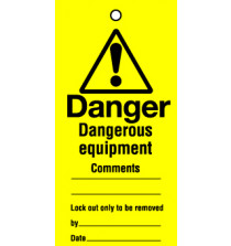 Lockout tags 200x100mm Dangerous equipment ...Pack of 10 tags