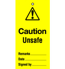 Lockout tag 200x100mm Caution Unsafe (Pack of 10)