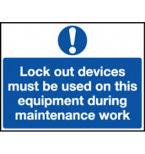 'Lock Out Devices Must be Used...' Safety Lockout Labels 55mm x 75mm