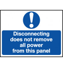 'Disconnecting Does Not Remove All Power' - Safety Lockout Labels 55 x 75mm