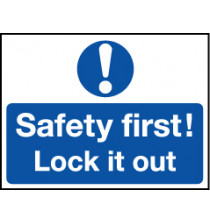 'Safety First' - Safety Lockout Labels 55 x 75mm