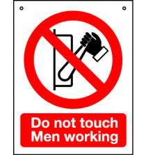 'Do Not Touch Men Working' - Hanging Lockout Sign