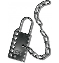 Stainless steel lockout hasp with 305mm (12 inches) s/s chain