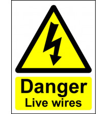 Hazard Warning Sign 200x150mm Danger live wires (s/a)