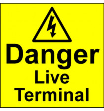 Electrical Safety Labels - Live Terminal