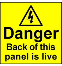 Electrical Safety Labels - Live Panel
