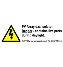 Individual Photovoltaic 'PV' Labels