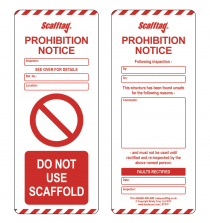 SCAF5 Prohibition Inserts - Scafftag - Pack of 50