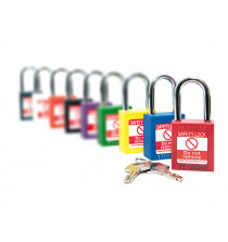 Nylon body Safety Padlock - 38mm clearance Steel Shackle