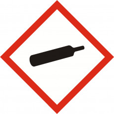 GHS GAS UNDER PRESSURE sign 40mm x 40mm