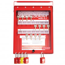 GL2 Steel Wall mounted or Portable Group Lockout Box - 24 hook. Colour Red.