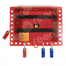 GLB1_RED Wall Mounted Group Lockout Box