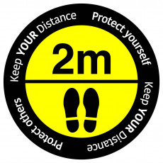 "Social Distancing floor sign ""Keep your distance"" - Yellow/Black"