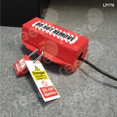Plug Lockout, Large, Red, 80mm x 80mm x 180mm