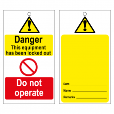 TLOT1 Disposable Lockout Tags - Yellow Caution Blank Reverse