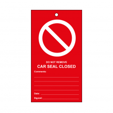 RLOT9 Disposable Car Seal Tag - Red 'Valve Closed'